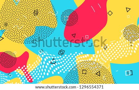 Cartoon graphics. Pop art color background. Memphis pattern of geometric shapes for tissue and postcards. Vector Illustration. Hipster style 80s-90s. Abstract colorful funky background.