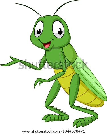 cartoon grasshopper isolated on