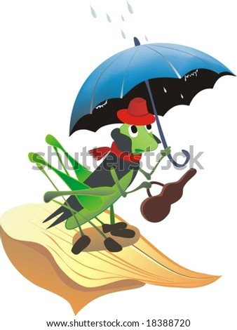 Clip Art Grasshopper. grasshopper with umbrella