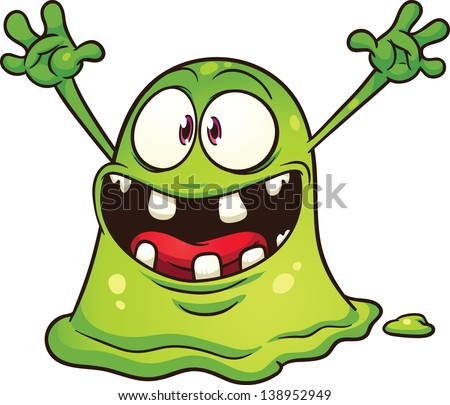 Cartoon green blob monster Vector clip art illustration with simple gradients All in a single layer