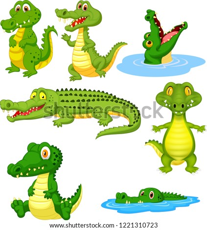 Cartoon green crocodile collection set Foto stock ©