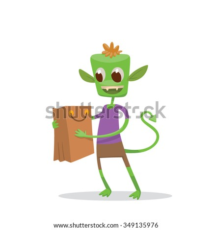 cartoon green little monster in