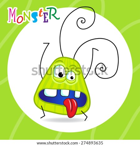 cartoon green monster with cute