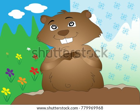 cartoon groundhog illustrated