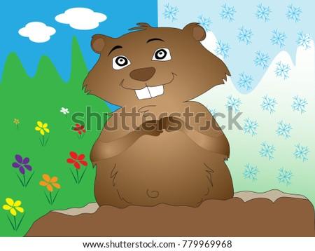 cartoon groundhog illustrated