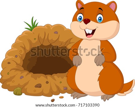 Cartoon groundhog in front of its hole
