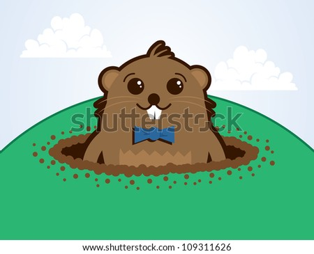Cartoon groundhog on top of a hill