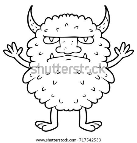 cartoon grumpy monster
