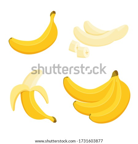 Cartoon half peeled banana and bunch of bananas. Tropical fruits, banana snack or vegetarian nutrition. Vegan food vector icons in a trendy cartoon style. Healthy food concept.