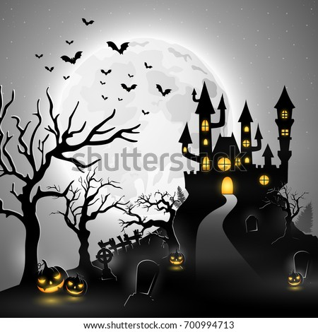 Cartoon halloween background with castle and pumpkin