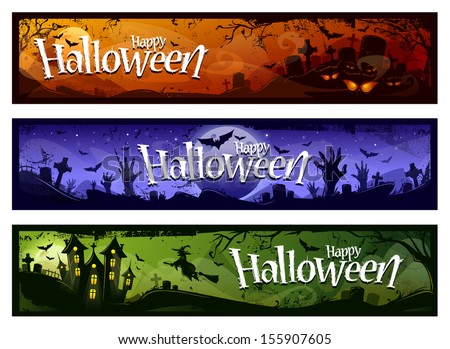 Cartoon halloween banners set. Grunge styled horizontal halloween banners with 'Happy Halloween' typography. Vector illustration.