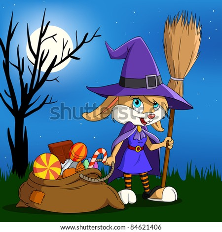 Cartoon halloween bunny girl in witch outfit with candy sack. Vector illustration. - stock vector