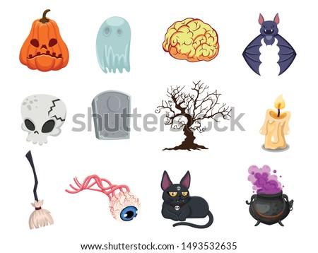 Cartoon Halloween icon set vector. pumpkin, ghost, brain, bat, skull, gravestone, tree, candle, broom, eyeball, cat, witches cauldron. Vector illustration ストックフォト ©