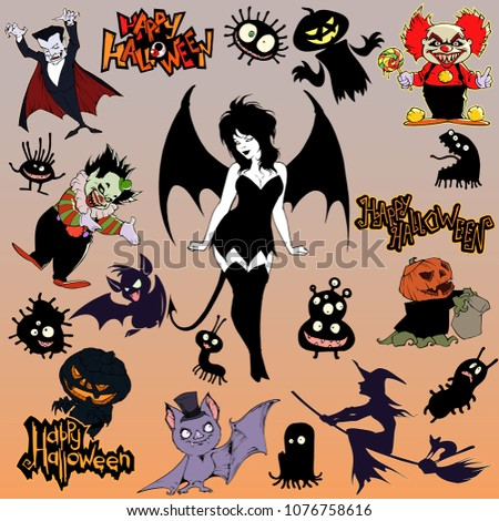Stock Photo Cartoon halloween illustration set of diverse evil bizarre creatures and characters, vampires, zombies, monsters, imps, evil mascots