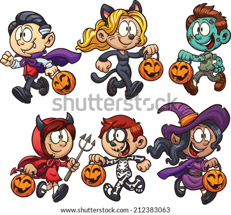 cartoon halloween kids vector