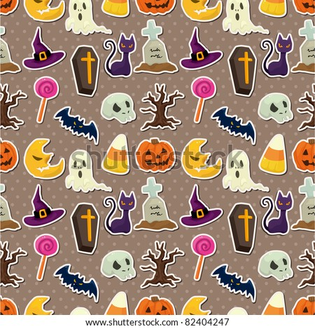 cartoon Halloween seamless pattern