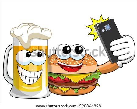 cartoon hamburger and beer