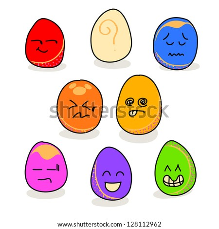 cartoon hand drawing eggs emotion icon