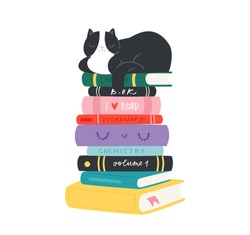 Cartoon hand drawn cozy Illustration of books and cats with calligraphy text. Lettering  quotes and drawing object for read lovers on white background. Reading motivation for design, cards, posters