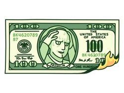 Cartoon hand drawn 100 dollar bill on fire with Franklin holding head in hands. Financial crisis, money loss. Isolated vector clip art illustration.