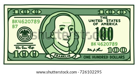 Cartoon hand drawn 100 dollar bill with stylized Franklin portrait. Play money or fake banknote vector illustration.