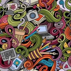 Cartoon hand drawn doodles on the subject of Design and art theme seamless pattern. Colorful detailed, with lots of objects vector background