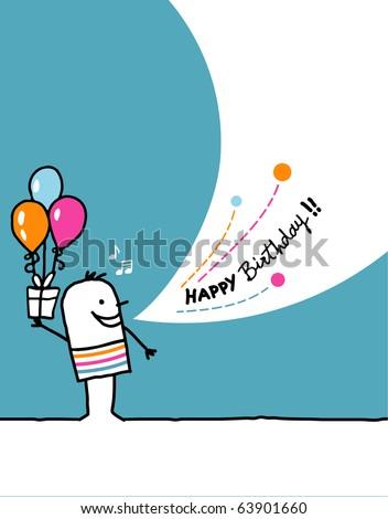 Cartoon Hand Drawn Greeting Card - Birthday Stock Vecto