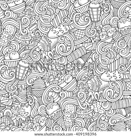 Cartoon hand drawn ice cream doodles seamless pattern for Coloring pages with lots of detail