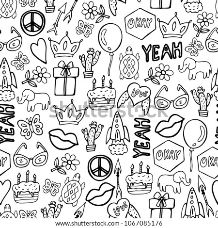 cartoon hand drawn icons sketch