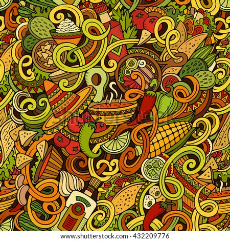 Cartoon hand-drawn mexican food doodles seamless pattern. Detailed, with lots of objects vector background