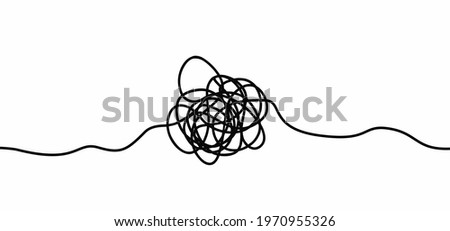 Cartoon, hand drawn scribble sketch circle object. Chaotic or chaos and order. Comic brain. Scrawls, wirwar draad. tangled texture. Random chaotic lines.Flat vector motivation idea. Stock photo ©