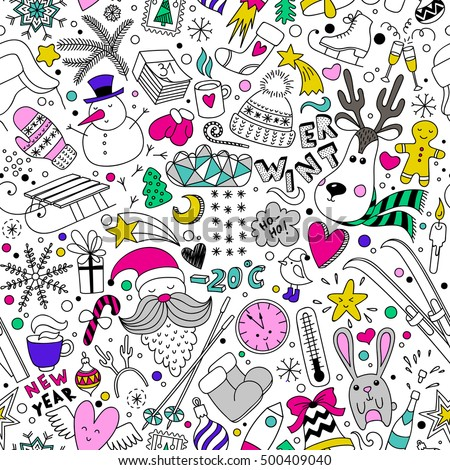 cartoon hand drawn seamless