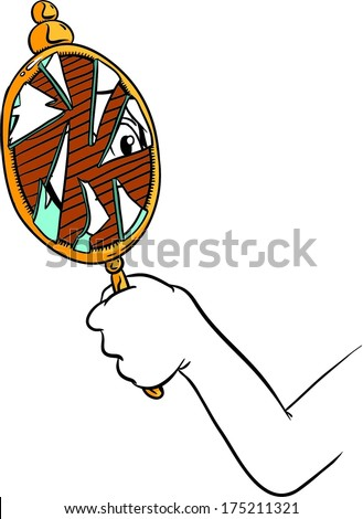 Cartoon Hand Holding Broken Mirror With Shattered