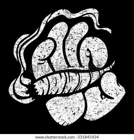 cartoon hand holding smoking