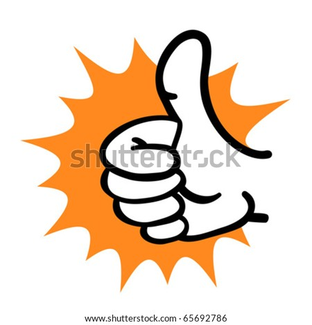 Cartoon hand thumb up gesture. Vector illustration.