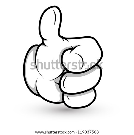 Cartoon Hand - Thumbs Up - Vector Illustration - stock vector