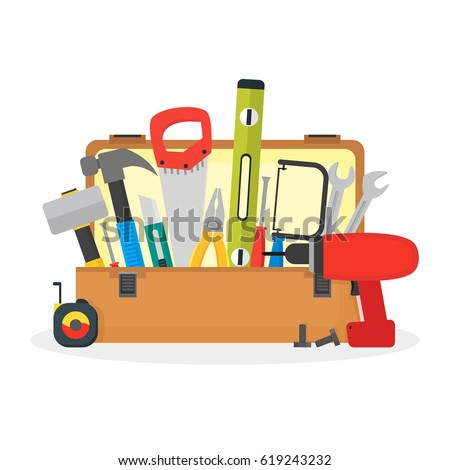 Cartoon Hand Tools Box Flat Style Design Toolbox for Service Repair Home . Vector illustration