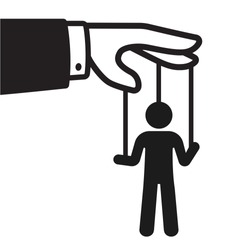 Cartoon hand with string puppet silhouette. Politics and control concept. Black and white isolated vector illustration.