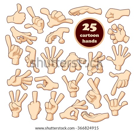 cartoon hands set cartoon