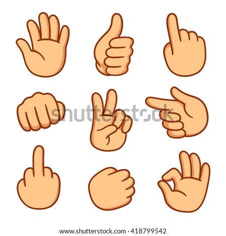 Cartoon hands set. Different gestures: pointing, attention, fist, thumbs up. Isolated vector illustration.