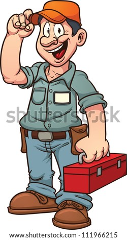 Cartoon handy man. Vector illustration with simple gradients. All in a single layer.