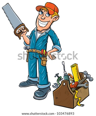 Cartoon handyman with toolbox. Isolated on white
