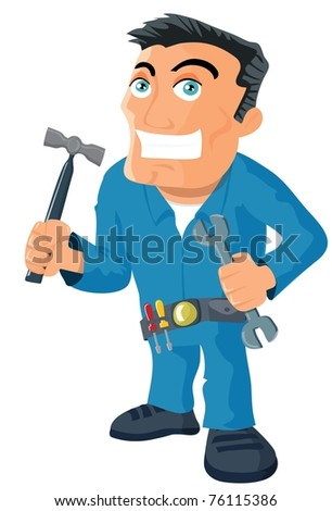 Cartoon handyman with tools. Isolated on white