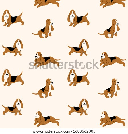 cartoon happy basset hound