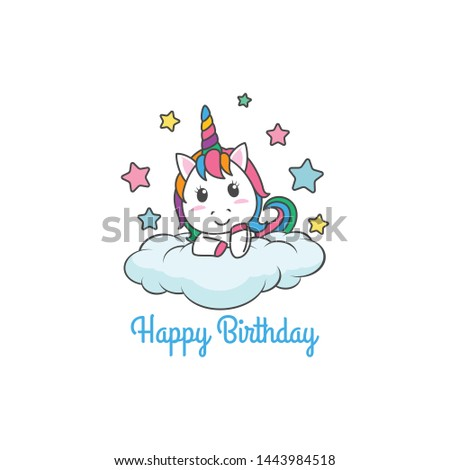 Cartoon Happy Birthday Magical Unicorn illustration Invitation Greeting Card with fun and cute look pastel color #1443984518