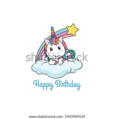 Cartoon Happy Birthday Magical Unicorn illustration Invitation Greeting Card with fun and cute look pastel color #1443984524