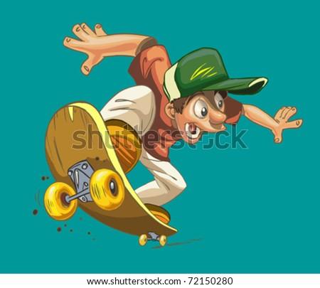 cartoon happy boy on a skateboard isolated on a green background