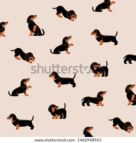 Cartoon happy dachshund - simple trendy pattern with dogs. Flat vector illustration for prints, clothing, packaging and postcards.  Сток-фото ©