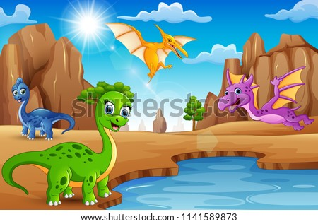 cartoon happy dinosaurs living