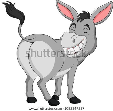 cartoon happy donkey showing ass